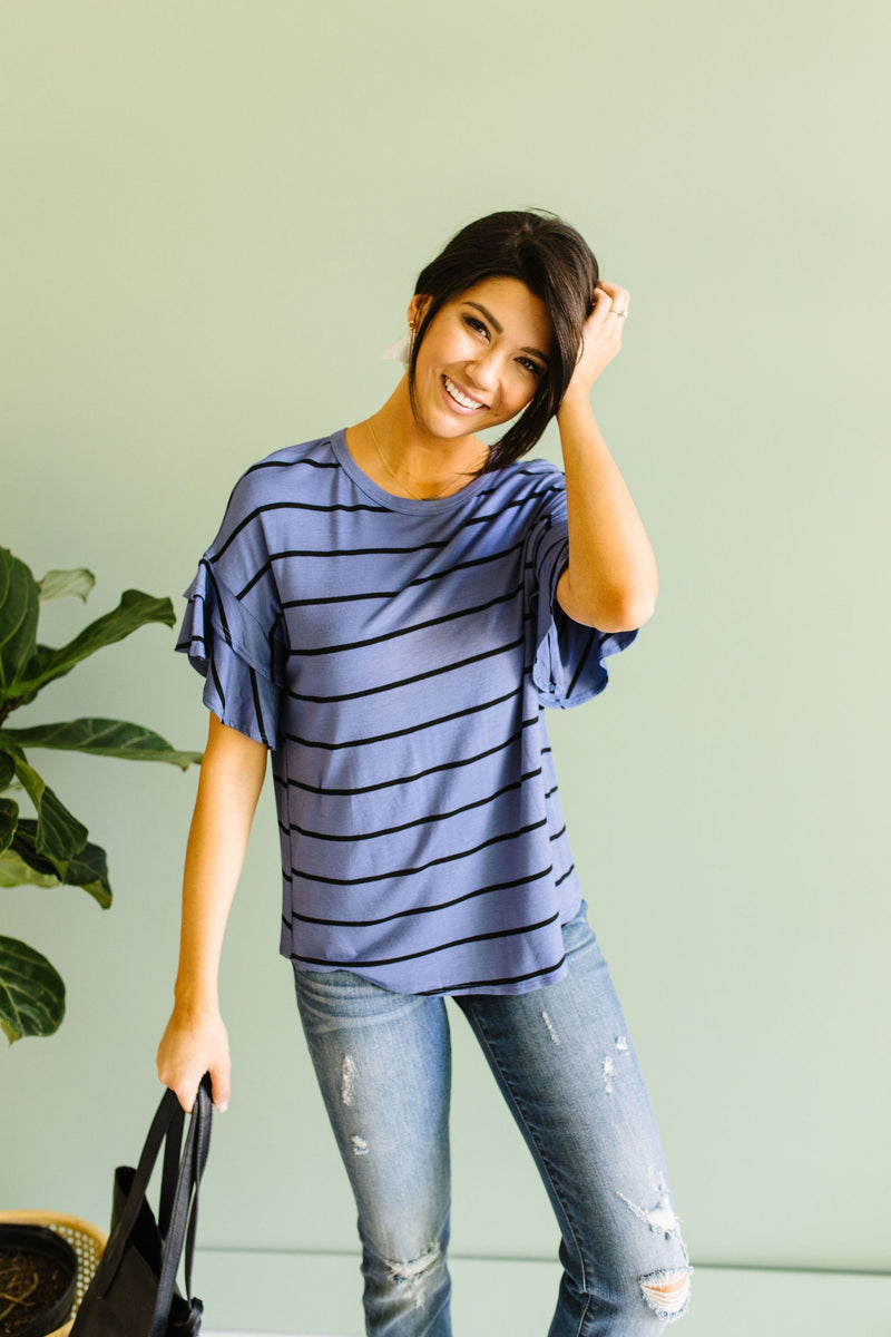 Twice As Nice Striped Top In Denim