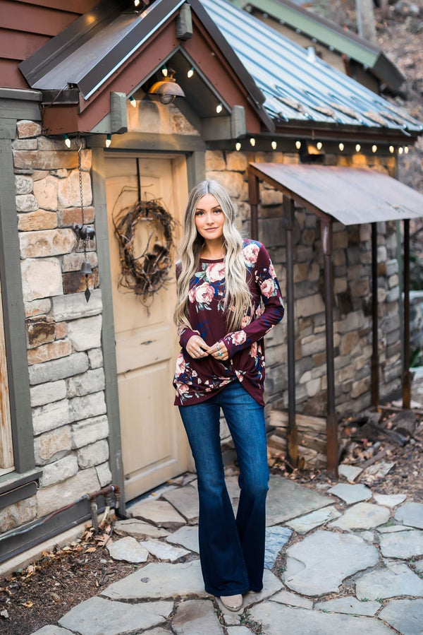 Wine Floral Knotted Top