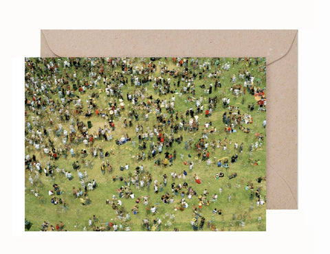 SIM002 Simon Terrill Green Crowd Greeting Card