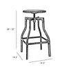 Machinist Adjustable Steel Barstool Ash Wood Seat 26 - 32 Inch