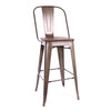 -Dreux Elm Wood Steel Bar Chair 30 Inch (Set of 4)--MODTEMPO