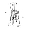Dreux High Back Steel Counter Stool 26 Inch (Set of 4)