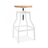 DesignLabMN-Machinist Adjustable Steel Barstool Ash Wood Seat 26 - 32 Inch-MODTEMPO-MODTEMPO