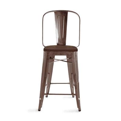 Dreux Elm Wood Steel Bar Chair 30 Inch (Set of 4)