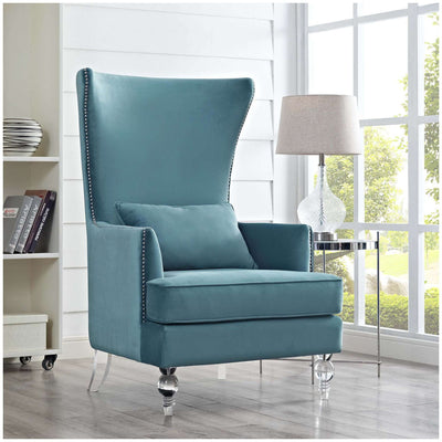 Tov-Bristol Velvet Chair with Lucite Legs-Arm Chair-MODTEMPO