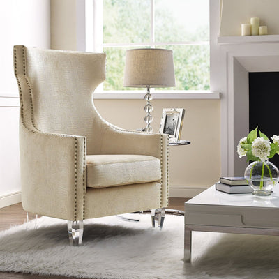 Tov-Gramercy Croc Velvet Wing Chair-Armchairs & Sectionals-MODTEMPO