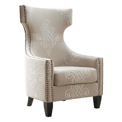 Tov-Gramercy Embroidered Linen Wing Chair-Accent Chairs-MODTEMPO