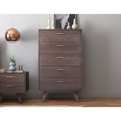 Tov-Loft Wooden 5 Drawer Chest-Dressers-MODTEMPO