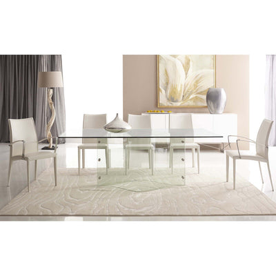 Bellini-Onda Bent Glass Rectangular Dining Table-Dining Tables-MODTEMPO