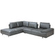 Roxanne Left Hand Facing Dark Grey Sectional With Adjustable Back & Arm Cushions