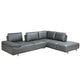 Roxanne Right Hand Facing Dark Grey Sectional With Adjustable Back & Arm Cushions
