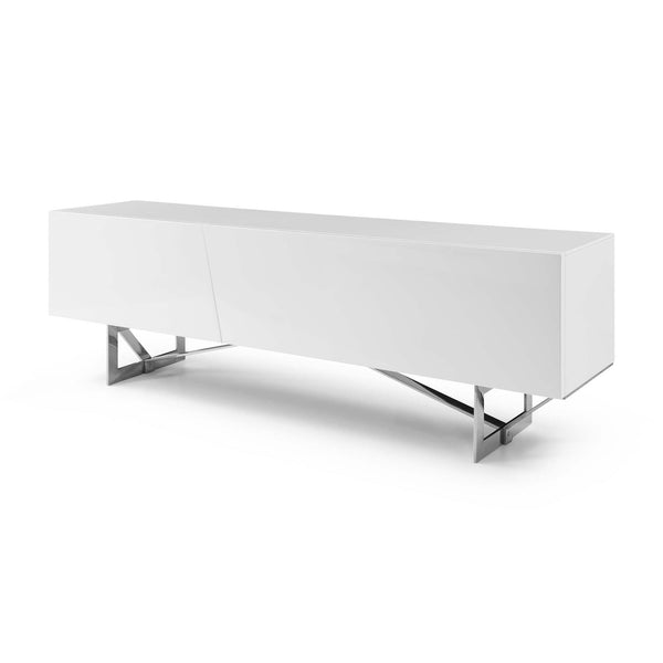 Saleen TV Stand Gloss W/ Stainless Steel Legs