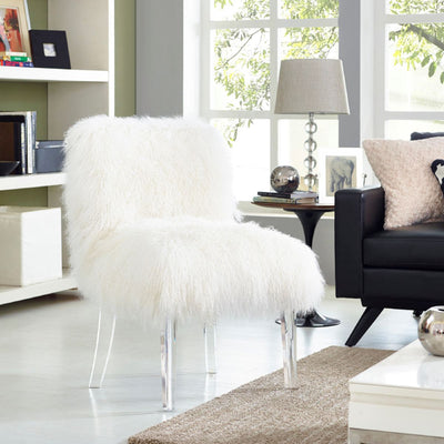 Tov-Sophie Sheepskin Lucite Chair-Lounge Chair-MODTEMPO
