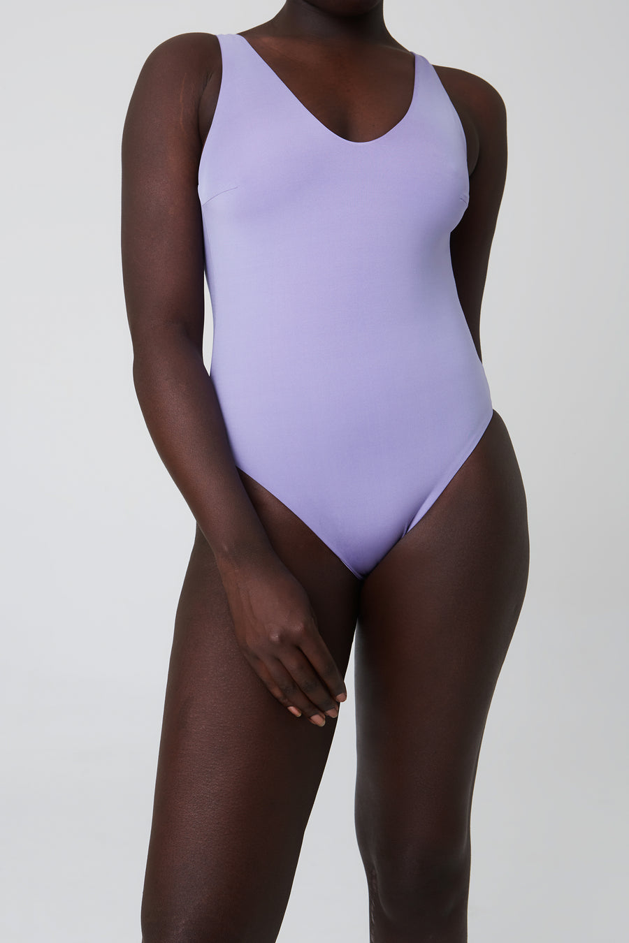 Swimsuit – v-neck, lavender