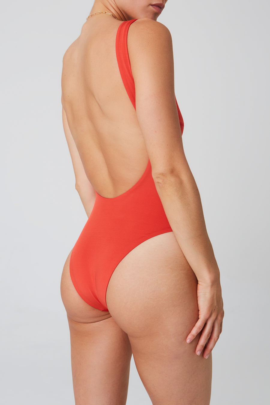 Swimsuit – v-neck, red