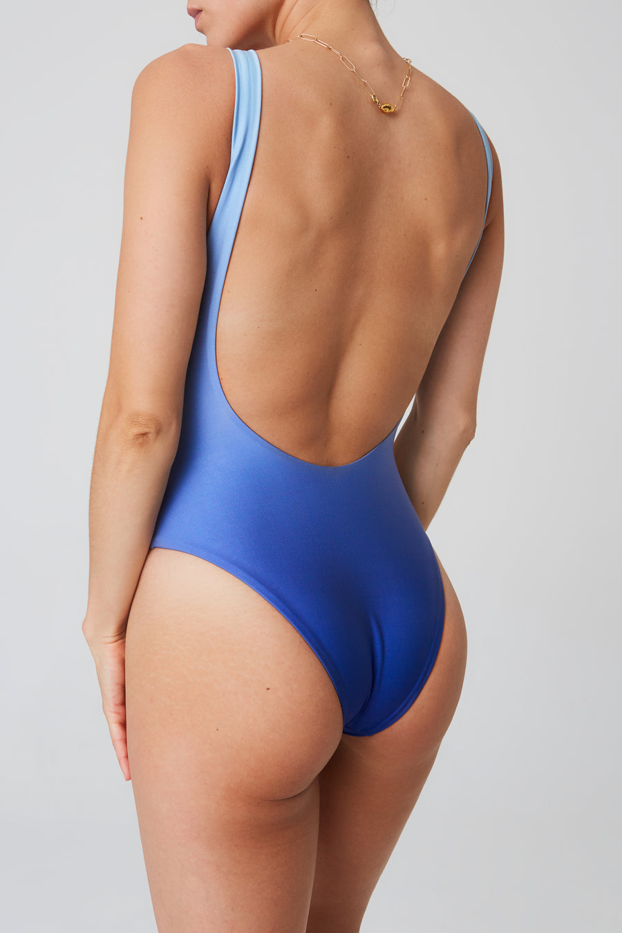 Swimsuit – v-neck, sky