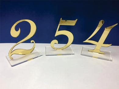 Numbers from 1 to 10 tables sign gold acrylic and clear acrylic