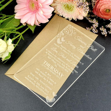 25 units  Wedding invitation.  Engraving in acrylic.  6x4 size