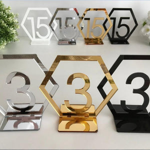 Acrylic Wooden Wedding Table Number Black Gold Party Table Decoration