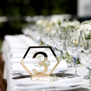 FESTNIGHT 1-20 Signs Hexagon Table Numbers with Base for Wedding Party