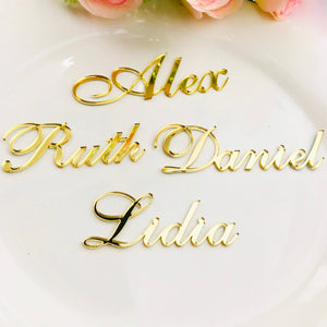 Personalized Customized Gold Silver Gold Wood Guest Place Names for Wedding