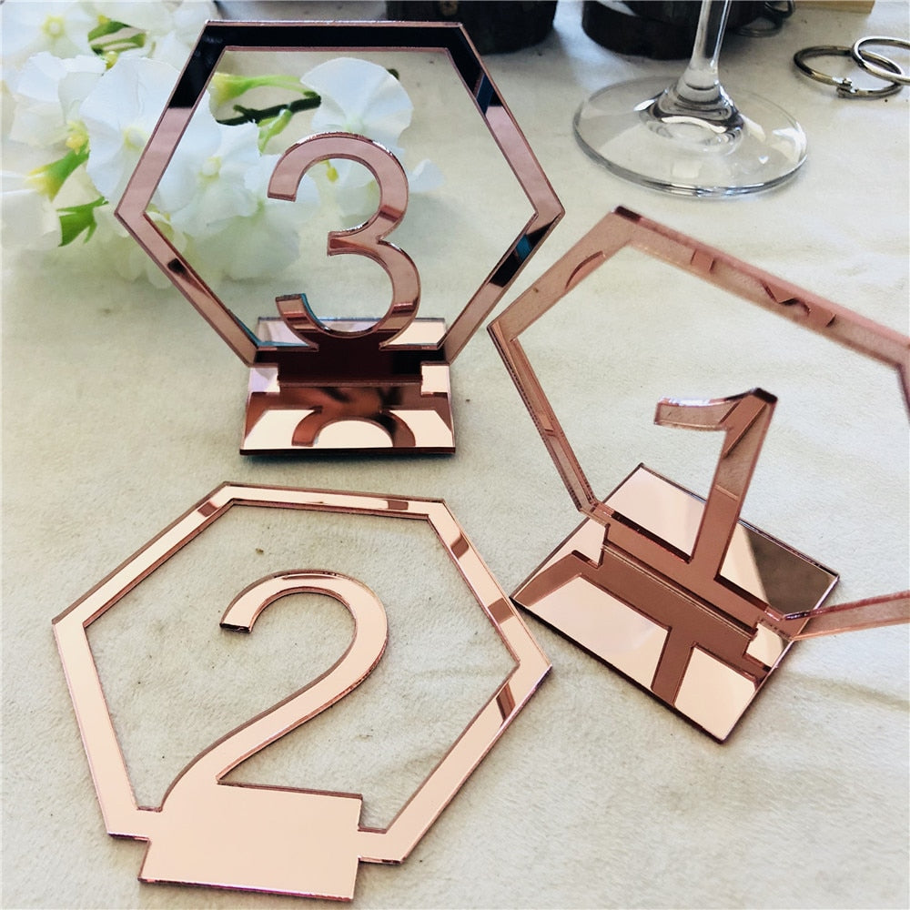 Acrylic Rose Gold Table Number Wedding Party Table Decoration Party Signs Wedding