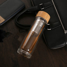 Load image into Gallery viewer, Eco-Friendly Glass Water Bottle With Bamboo Lid