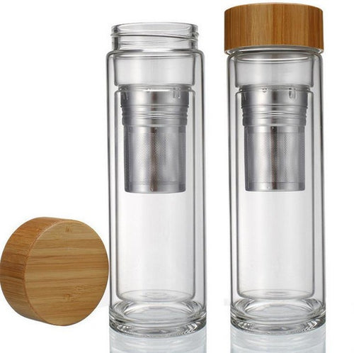 Eco-Friendly Glass Water Bottle With Bamboo Lid