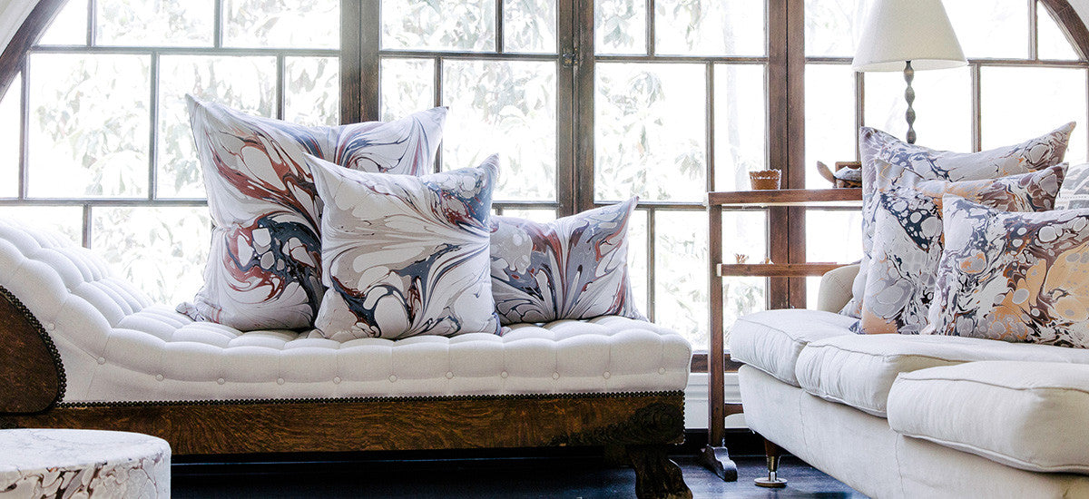 hand marble pillows and throws