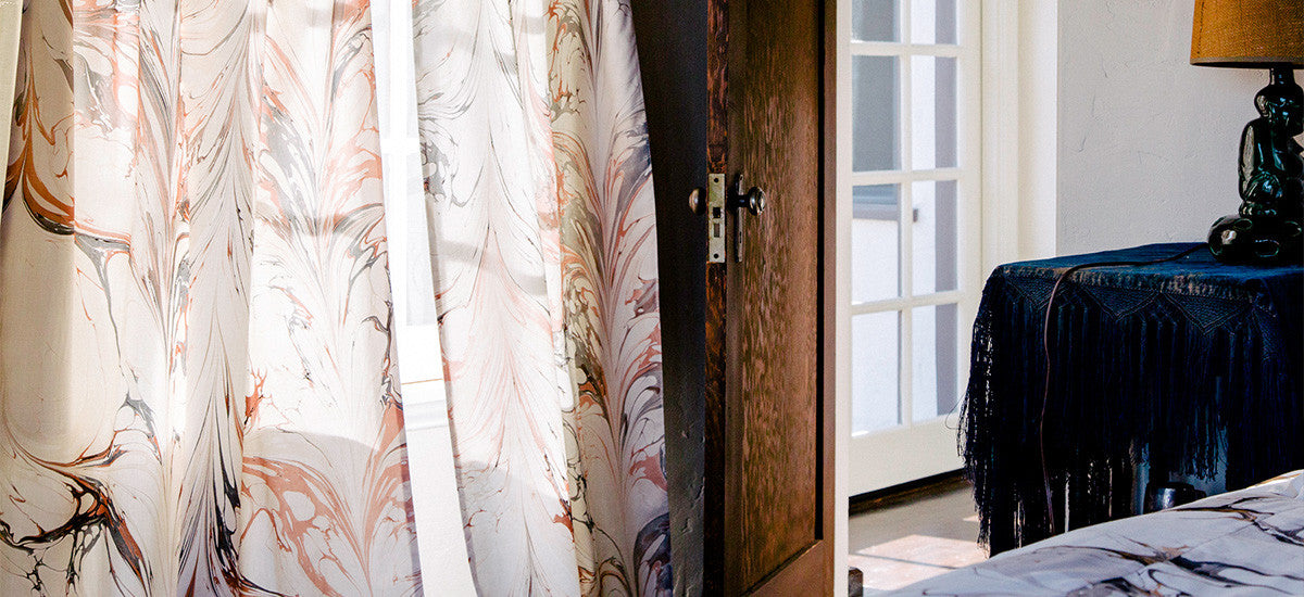 Hand marbled curtains