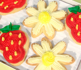 Strawberry and Daisy cut out cookies