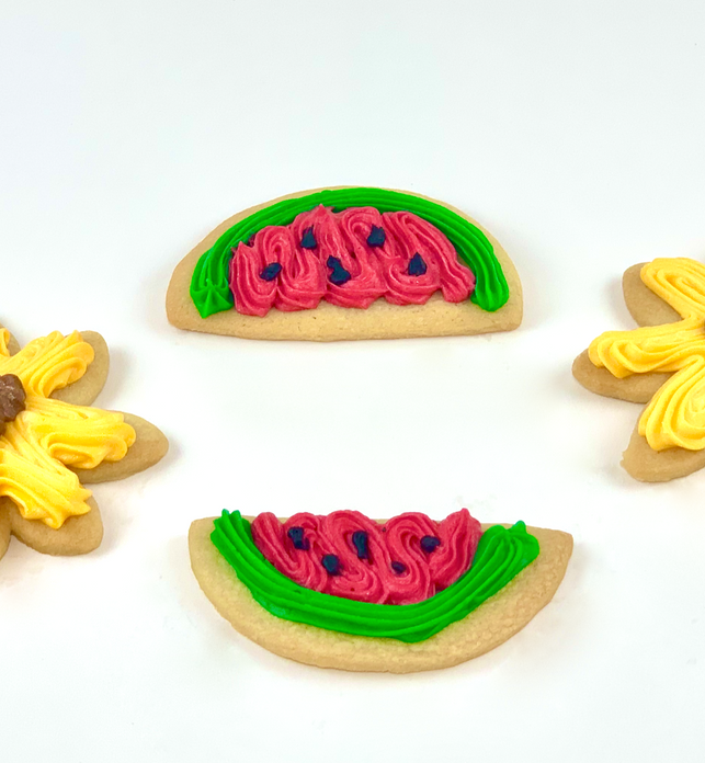Sunflower/Watermelon Iced cut out cookies