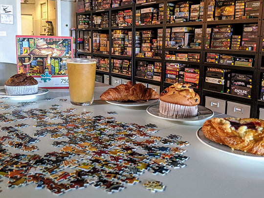 Coffee, tea, pastries, puzzles