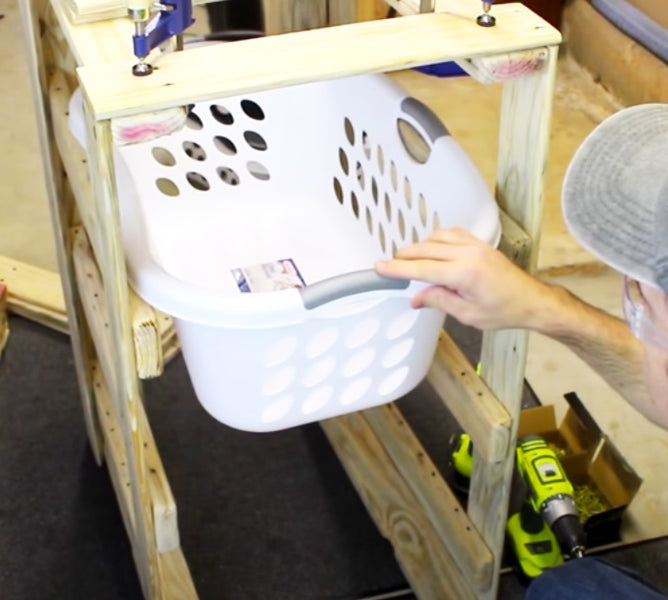 When I found this DIY pallet three-tier laundry basket holder video tutorial by Specific Love Creations, on YouTube, I really thought this recycled pallet idea was awesome