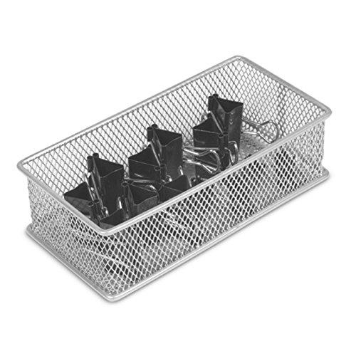 Silver Mesh Open Bin Storage Basket Organizer by YBM Home (6