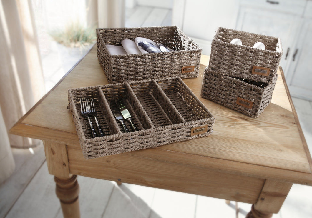 Cutlery Tray, Cutlery Basket Organizer, Traditional Wicker Kitchen Organisers, Braided Cutlery Tray, Cutlery,