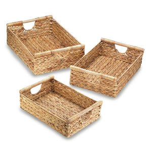 Wicker Storage Baskets With Handle, Straw Organizer Baskets (set Of 3)