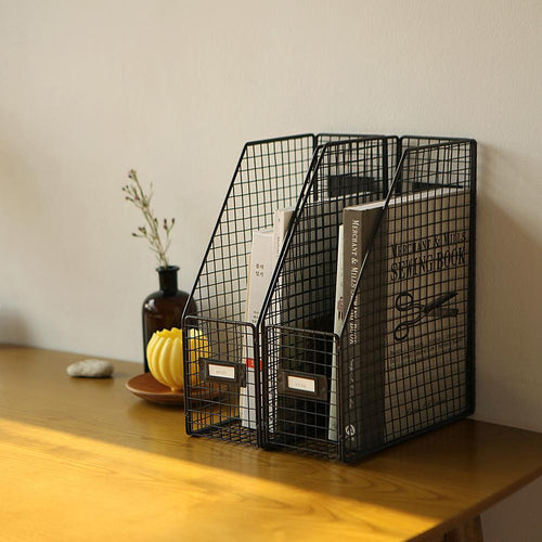 Metal Wire Desktop Book Stand Document Storage Basket Organizer Bookend Rack, 1p
