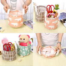 Load image into Gallery viewer, Foldable Kid Toys Storage Bags Cotton Linen Waterproof  Laundry Basket Organizer