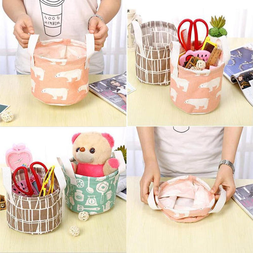 Foldable Kid Toys Storage Bags Cotton Linen Waterproof  Laundry Basket Organizer