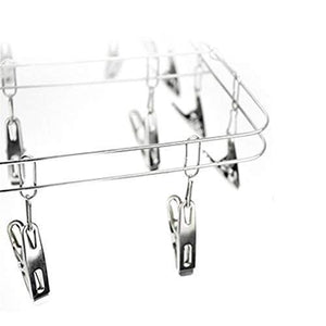 Best seller  mesheshe 20 clips sock underwear clothes outdoor airer dryer laundry hanger stainless steel square wire clip clothes rack sock dryer rack