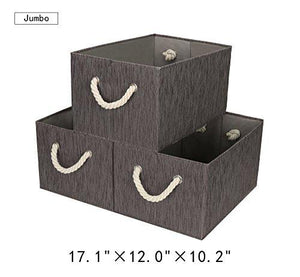 StorageWorks Polyester Storage Box with Strong Cotton Rope Handle, Foldable Basket Organizer Bin, Dark Brown, Bamboo Style, Jumbo, 3-Pack