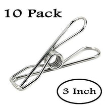 Load image into Gallery viewer, Discover the best 10 pack 3inch jumbo heavy duty stainless steel wire clips for drying on clothesline clothespins for home laundry office