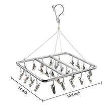 Load image into Gallery viewer, Save on asperffort stainless steel laundry drying rack with 26 clips drip hanger with metal clothespins for drying socks bras underware baby clothes socks clother hanger