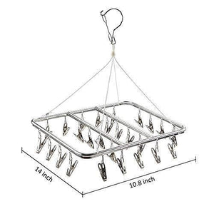 Save on asperffort stainless steel laundry drying rack with 26 clips drip hanger with metal clothespins for drying socks bras underware baby clothes socks clother hanger