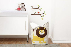 3 Sprouts Baby Storage Basket Organizer Bin Laundry Hamper for Nursery Clothes, Lion