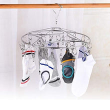 Load image into Gallery viewer, Featured stainless steel clothes drying racks laundry drip hanger laundry clothesline hanging rack set of 24 clothespins for drying clothes towels underwear lingerie socks