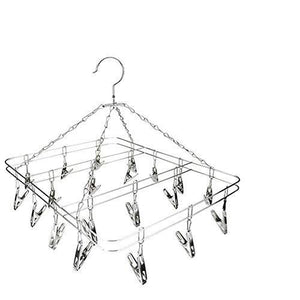 Try mesheshe 20 clips sock underwear clothes outdoor airer dryer laundry hanger stainless steel square wire clip clothes rack sock dryer rack