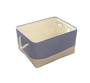 "HuoGuo Brand Blue Canvas Basket Decorative Fabric Storage Bin for Toy Basket Clothes Storage Baby Basket Organizer 12""×8""×5"" inch as picture12×8×5 inch"