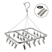 Load image into Gallery viewer, Save asperffort stainless steel laundry drying rack with 26 clips drip hanger with metal clothespins for drying socks bras underware baby clothes socks clother hanger